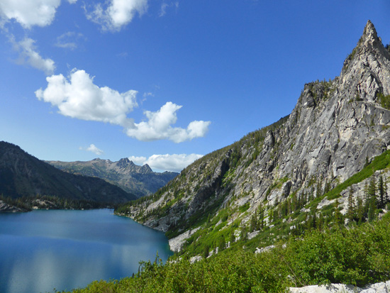 View of Colchuk Lake on the descent from Aasgard Pass